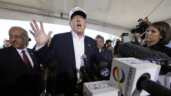 Donald Trump speaks at a news conference during a trip to the U.S.-Mexico border in Laredo, Texas, in July 2015.