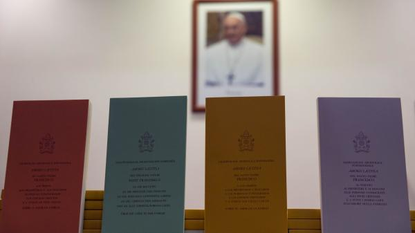 "Copies of the post-synodal apostolic exhortation ""Amoris Laetitia"" (The Joy of Love) are on display at a press conference at the Vatican on Friday. In it, Pope Francis writes that individual conscience should be the guiding principle for Catholics negotiating the complexities of sex, marriage and family life."