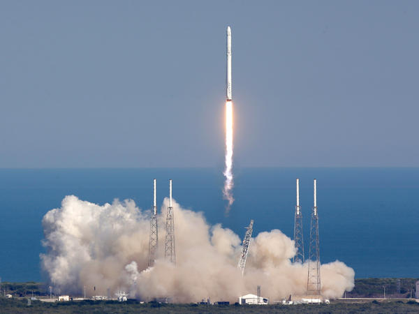 The SpaceX Falcon 9 rocket lifts off from launch complex 40 at the Kennedy Space Center in Cape Canaveral, Fla., on Friday.