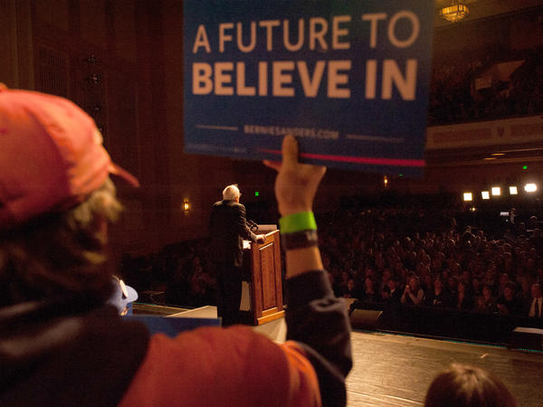 Sen. Bernie Sanders speaks during a political rally on April 5 in Laramie, Wyo. Sanders spoke to a large crowd on the University of Wyoming campus after winning the Wisconsin primary.