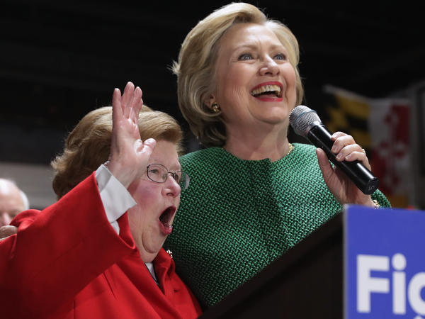 Hillary Clinton and Sen. Barbara Mikulski (D-MD) hold a campaign rally at City Garage April 10, 2016 in Baltimore, Maryland.