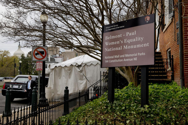 The president's limousine sits in front of the Belmont-Paul Women's Equality National Monument.