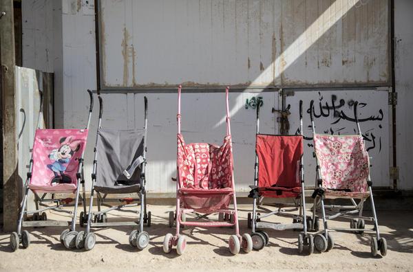Strollers for sale in Jordan's Zaatari Refugee Camp.