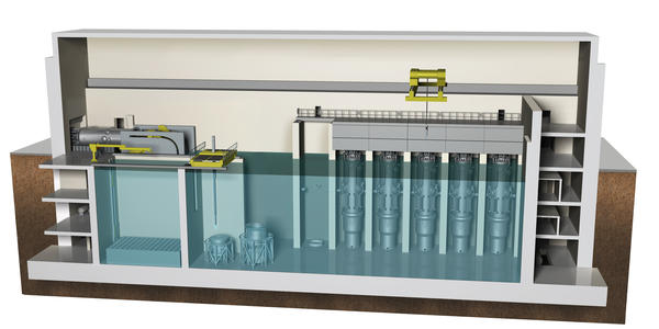 A cross-sectional view of NuScale Power's reactor building design.