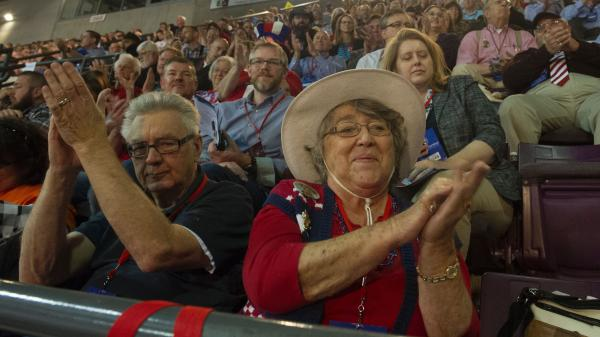 Supporters of Republican presidential candidate Sen. Ted Cruz attend the Colorado Republican Convention in Colorado Springs on April 9.