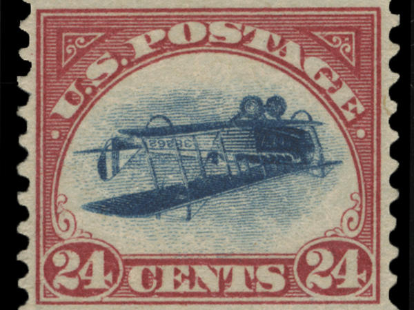 "This undated photo shows a 1918 ""inverted Jenny"" stamp. Stolen in 1955, the stamp surfaced last week at the New York auction house Spink, USA."