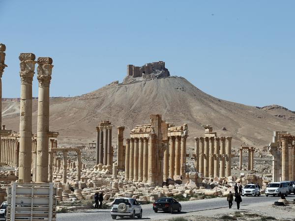 A picture from March 31 shows the remains of the ancient Syrian city of Palmyra. Jihadists of the Islamic State destroyed much of the site last year. Syrian troops backed by Russian forces recaptured Palmyra from ISIS on March 27.
