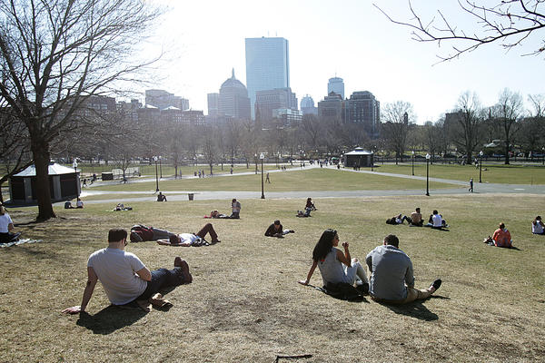 People in Boston enjoyed a late winter heat wave this past March. In much of the U.S., climate change is causing winters to warm faster than summers.