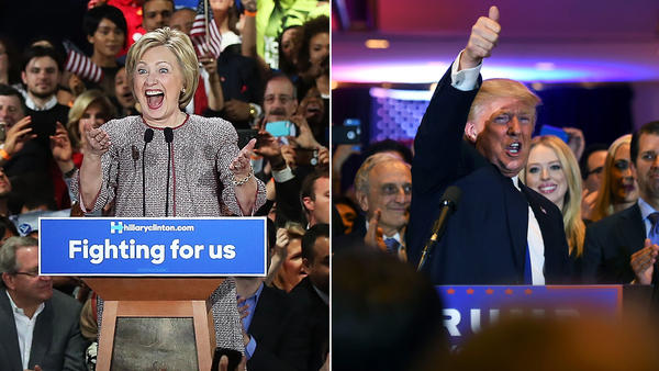 Hillary Clinton and Donald Trump address supporters after winning their respective primaries in New York on Tuesday.