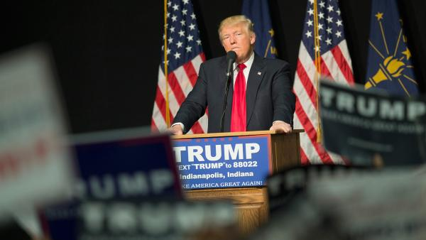 Donald Trump campaigns in Indianapolis on Wednesday.