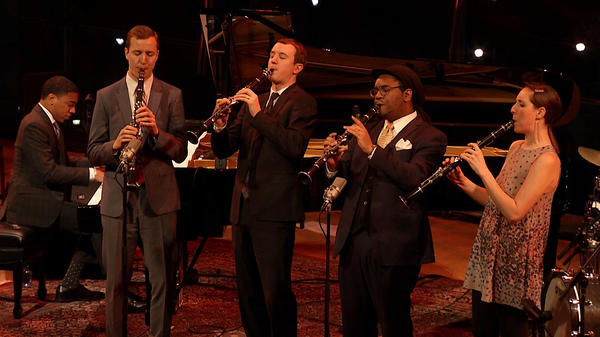 Will Anderson, Peter Anderson, Patrick Bartley and Janelle Reichman perform at Jazz at Lincoln Center in tribute to Benny Goodman.
