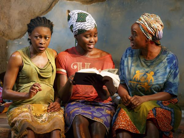 Pascale Armand, Lupita Nyong'o and Saycon Sengbloh in a scene from <em>Eclipsed</em>, now on Broadway.