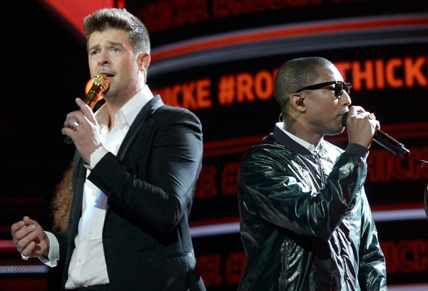 Musicians Robin Thicke (left) and Pharrell Williams perform onstage during the 2013 BET Awards at Nokia Theatre L.A. Live on June 30, 2013 in Los Angeles, California. (Kevin Winter/Getty Images for BET)
