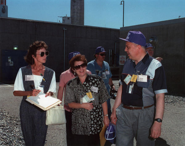 Michele Gerber touring with Nikolai Egorov, Chief Minister of Russia's Minatom, in 1994. This tour was the first ever that allowed Russians inside Hanford's Plutonium Finishing Plant.