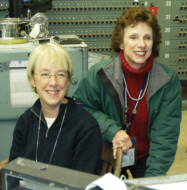 Michele Gerber with Senator Patty Murray at the control panel of B Reactor in 2007.