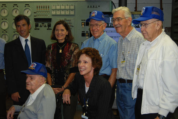 Michele Gerber, center, is seen with World War II Hanford veterans and officials of the U.S. Department of Interior and Department of Energy, at the dedication of B Reactor as a National Historic Landmark in 2008.