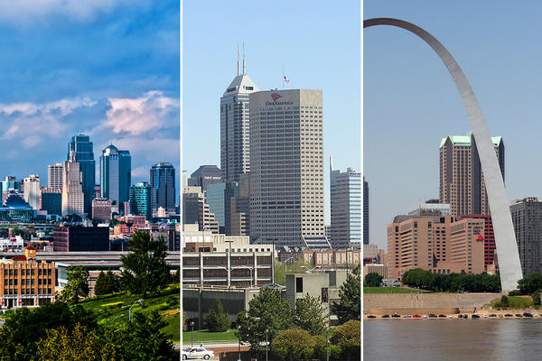 Skyline views of Kansas City (left), Indianapolis (center) and St. Louis.