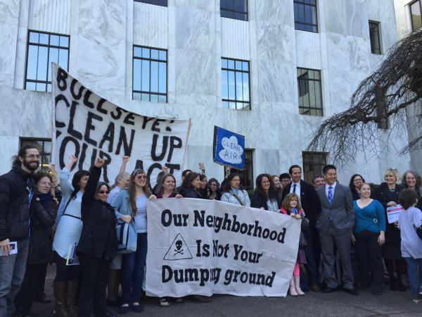 <p>Dozens of Portlanders rally for clean air at the state capitol building after delivering a petition to Gov. Kate Brown.</p>