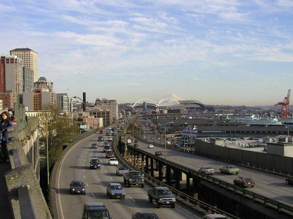 A view of the Alaskan Way Viaduct looking south from Victor Steinbrueck Park just northwest of Pike Place Market.