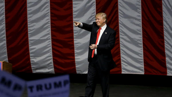 Donald Trump campaigns in Costa Mesa, Calif., on Thursday evening.