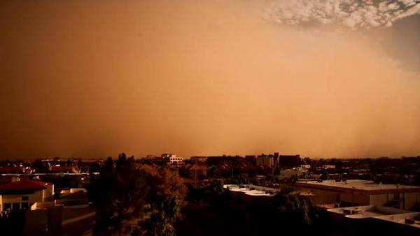 That's a wall of dirt and dust rolling over Phoenix on Saturday. (Screen grab from video posted on YouTube.)