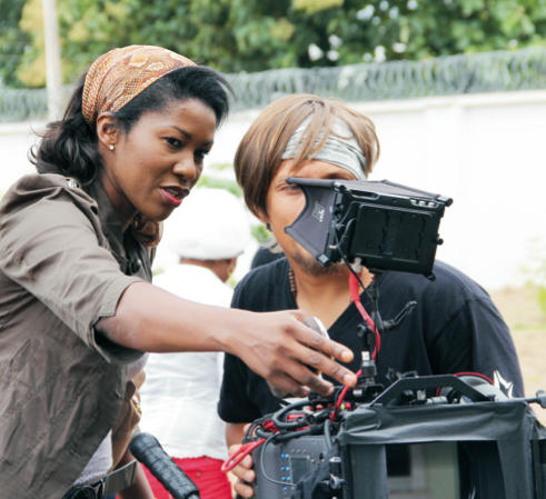 Director Stephanie Linus on the set of <em>Dry</em>.