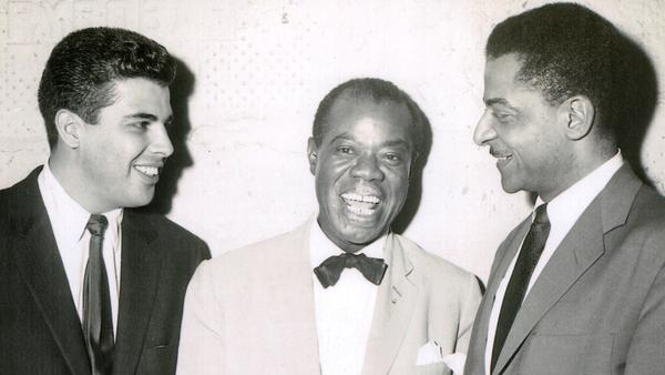Joe Castro with Louis Armstrong and Teddy Wilson, backstage at Basin Street in 1956.