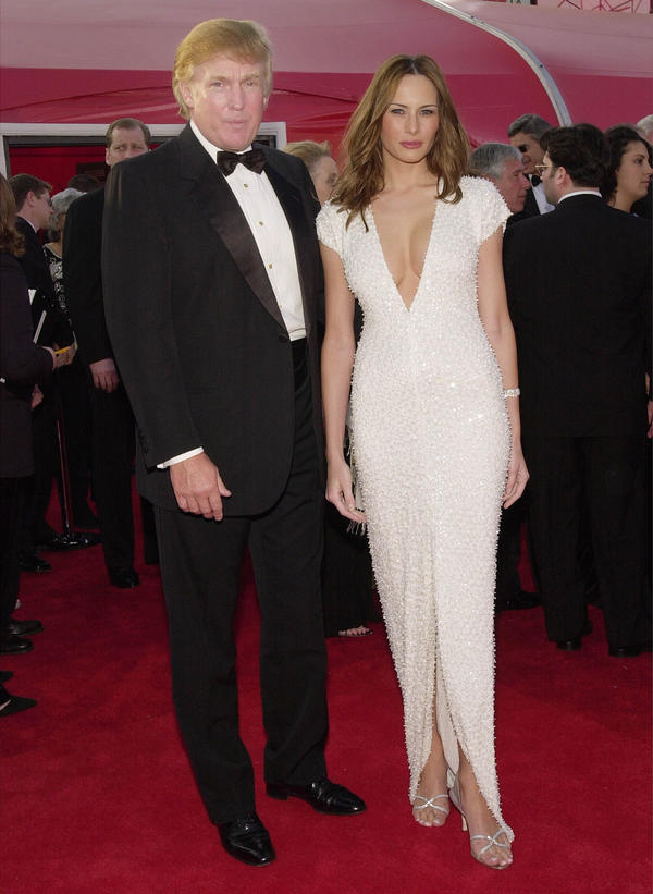Donald Trump and his then-girlfriend Melania arriving at the Academy Awards in 2001 in Los Angeles.