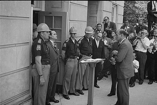 Alabama Gov. George Wallace attempting to block court-ordered integration at the University of Alabama in 1963.