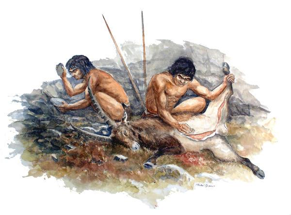 Neanderthal hunters cutting up their kill.