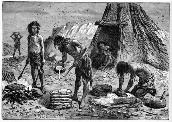 """Early humans preparing food — depicted in an engraving from """"Grands Hommes et Grands Faits de l'Industrie"""" circa 1880."""