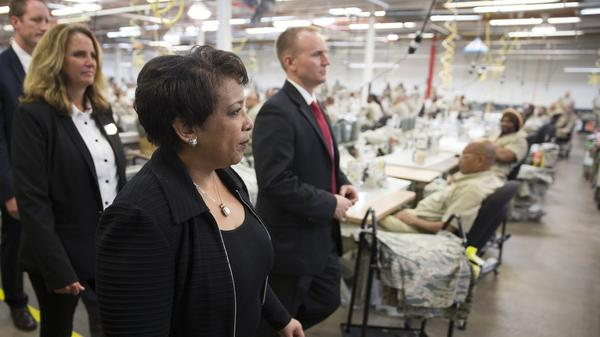 Attorney General Loretta Lynch tours a factory where inmates work at the Talladega Federal Correctional Institution in Talladega, Ala. on April 29, 2016.