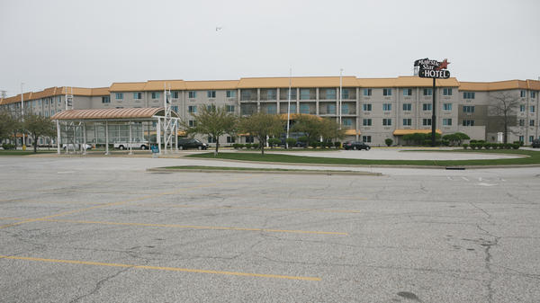 The largely empty parking lot of the Majestic Star Hotel in Gary. The former Trump property was sold in 2005.