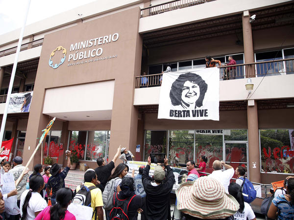 Protesters demanding justice in the murder of environmental activist Berta Cáceres gather outside the prosecutor's office, in Tegucigalpa, Honduras, on April 5.