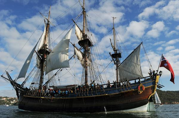 A replica of Capt. James Cook's Endeavour sails into Sydney Harbour in 2012. Researchers believe they may have found the wreckage of the original ship in Rhode Island.