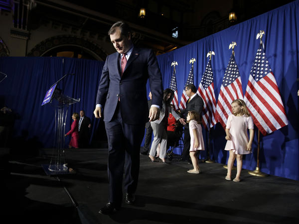 Sen. Ted Cruz, R-Texas, walks off the stage following a primary night campaign event in Indianapolis. Cruz suspended his campaign as results rolled in Tuesday.