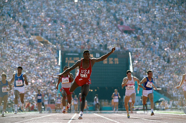 Neil Leifer took this photograph of sprinter Carl Lewis during the 1984 Olympics. Lewis won four gold medals that year. Photo from <em>Relentless: The Stories behind the Photographs,</em> by Neil Leifer with Diane K. Shah (University of Texas Press, 2016)