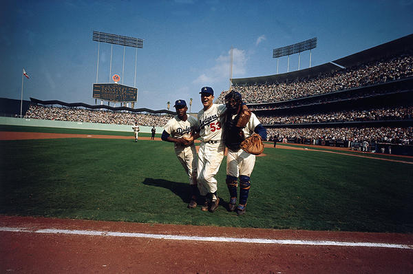Leifer captured this image of the Dodgers as they won the World Series in 1963. Photo from <em>Relentless: The Stories behind the Photographs,</em> by Neil Leifer with Diane K. Shah (University of Texas Press, 2016)