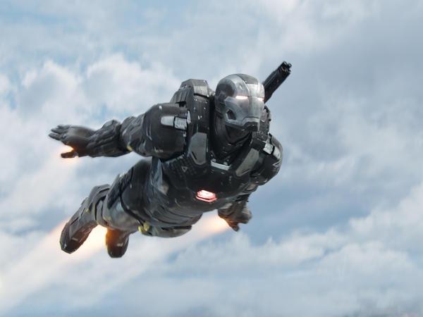 Don Cheadle in costume as War Machine in <em>Captain America: Civil War.</em>