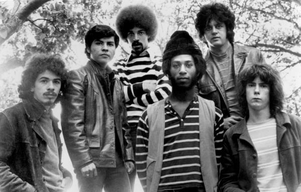 The Santana lineup circa 1970. Left to right: Carlos Santana, Jose Areas, Mike Carabello, David Brown, Gregg Rolie and Michael Shrieve.