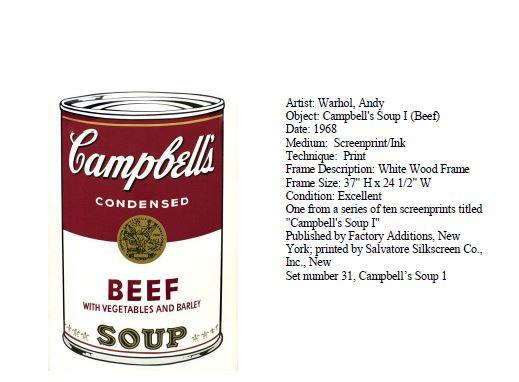 Stolen Warhol Painting Campbell's Beef Soup