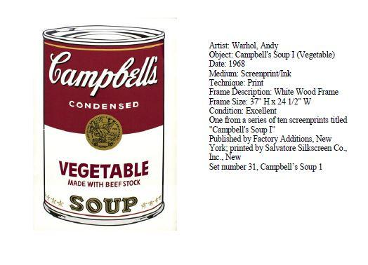 Stolen Warhol Painting Campbell's Vegetable Soup