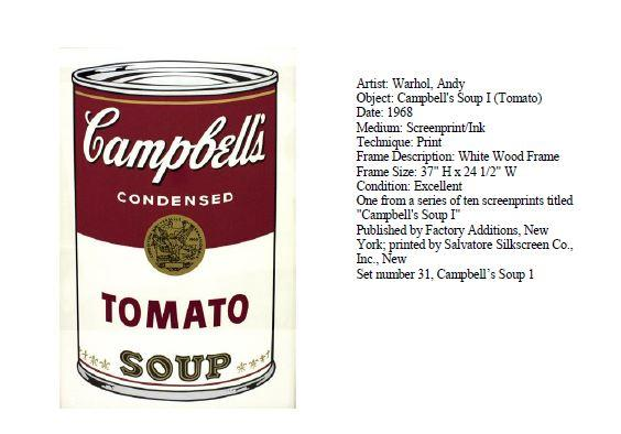 Stolen Warhol Painting Campbell's Tomato Soup