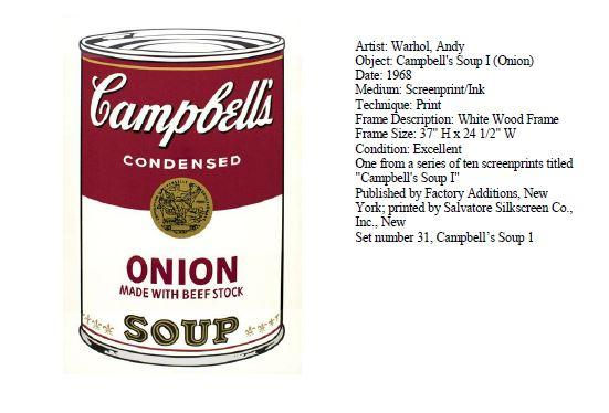 Stolen Warhol Painting Campbell's Onion Soup