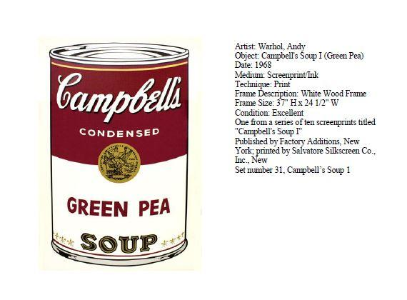 Stolen Warhol Painting Campbell's Green Pea Soup