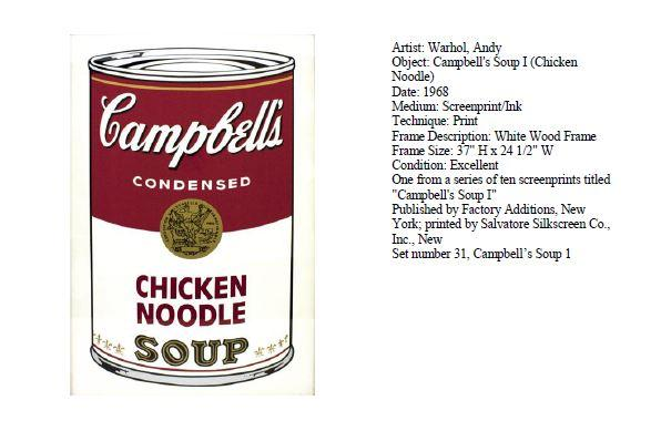 Stolen Warhol Painting Campbell's Chicken Noodle Soup