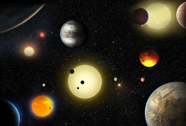 This artist's concept depicts some of the planetary discoveries made by NASA's Kepler Space Telescope. Tuesday's announcement more than doubles the number of verified planets discovered by the Kepler mission.