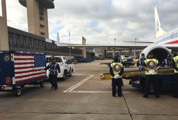 Retired firefighter and Navy veteran Danny Prince transported the sword back from McKinney, Texas, to New York City. The American Airlines crew treated the sword the same way it would treat the remains of a fallen soldier - with an honor guard loading it on to the plane.