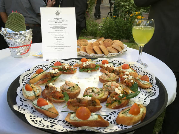Crostini topped with cheeses, vegetables and seafood, date-filled cookies and arugula lemonade were among the Gaza-style treats cooked up for a U.S. effort to promote the potential of agriculture in the isolated Palestinian territory.