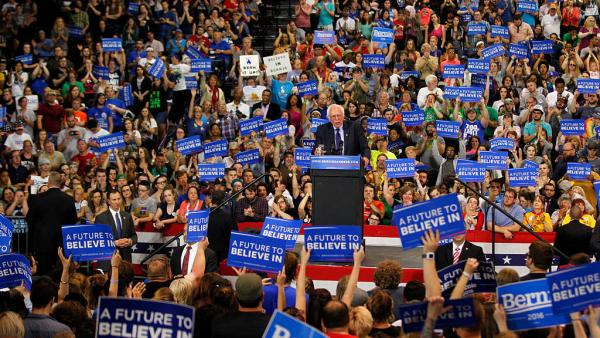 Democratic presidential candidate Bernie Sanders addresses the crowd in April during a campaign rally at the Big Sandy Superstore Arena in Huntington, W.Va.